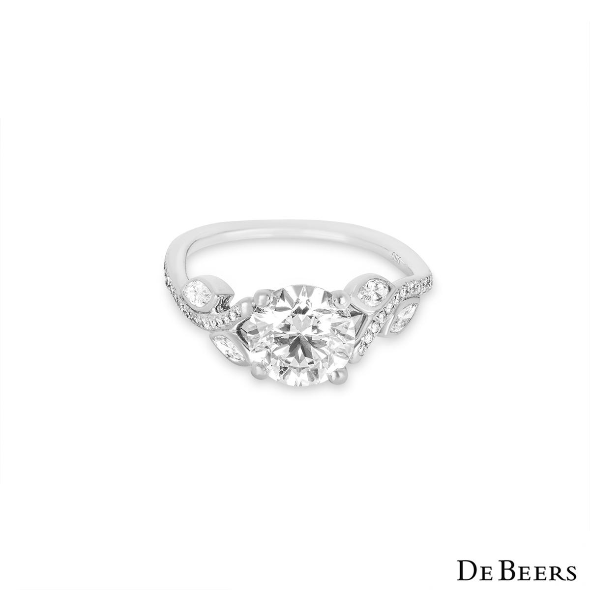 De Beers Platinum Round Brilliant Cut Diamond Ring 1.04ct E/VS1